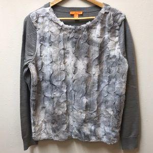 Joe Fresh Grey Faux Fur Front Sweater
